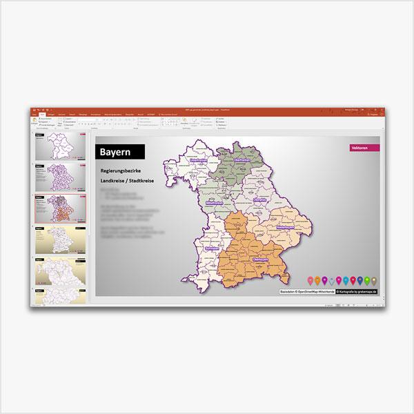 Bayern PowerPoint Karte Landkreise, Gemeinden, Regierungsbezirke