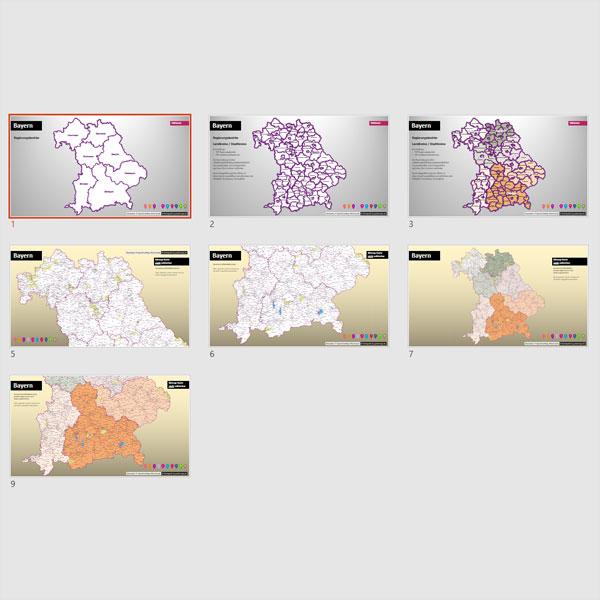 PowerPoint-Karte Bayern Landkreise Und Gemeinden