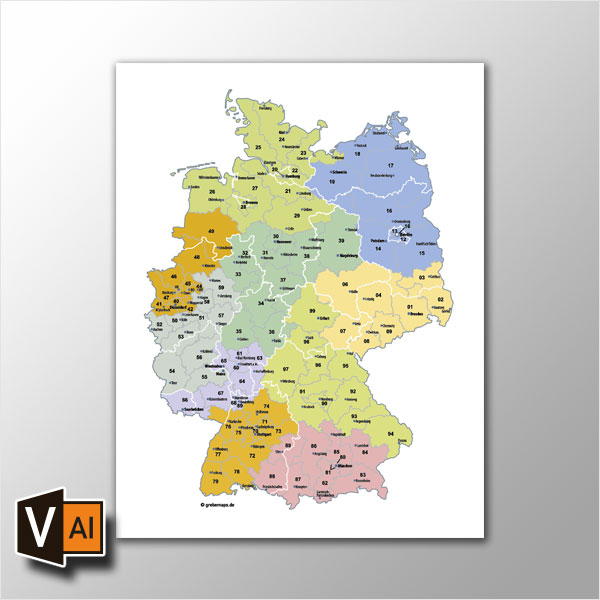 Deutschland Postleitzahlenkarte PLZ-2 Vektor 2-stellig (2015)