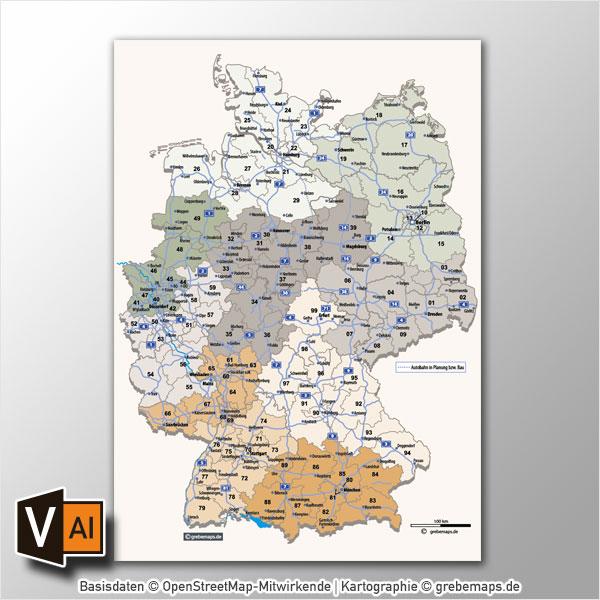 Deutschland Postleitzahlenkarte Vektor PLZ-2 Mit Autobahnen (2016)