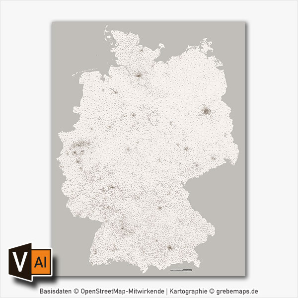 Deutschland Postleitzahlen PLZ-5 Vektorkarte Abstrahiert
