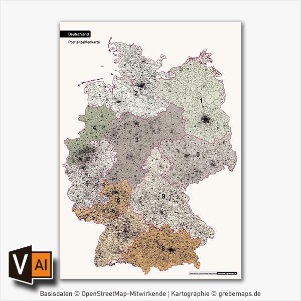 Deutschland Postleitzahlen PLZ-1-2-3-5 Vektorkarte 5-stellig