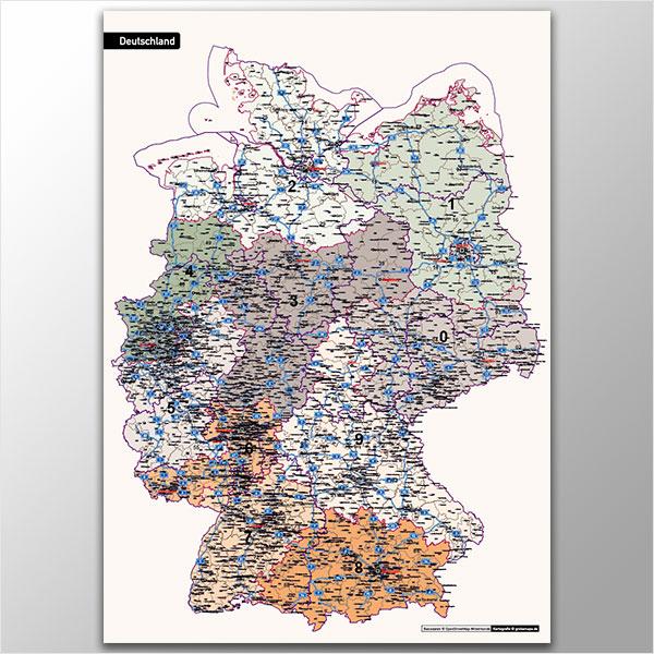 Deutschland Postleitzahlenkarte PLZ-1-2-3 Vektorkarte 3-stellig, Autobahnen