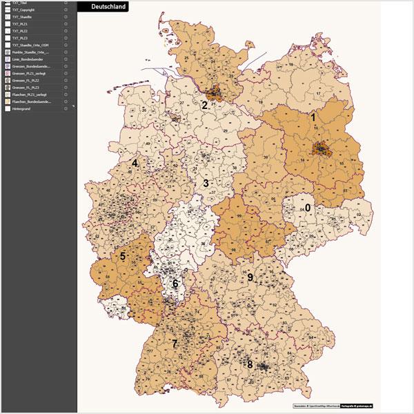 Deutschland Postleitzahlenkarte PLZ-1-2-3 Vektorkarte 3-stellig