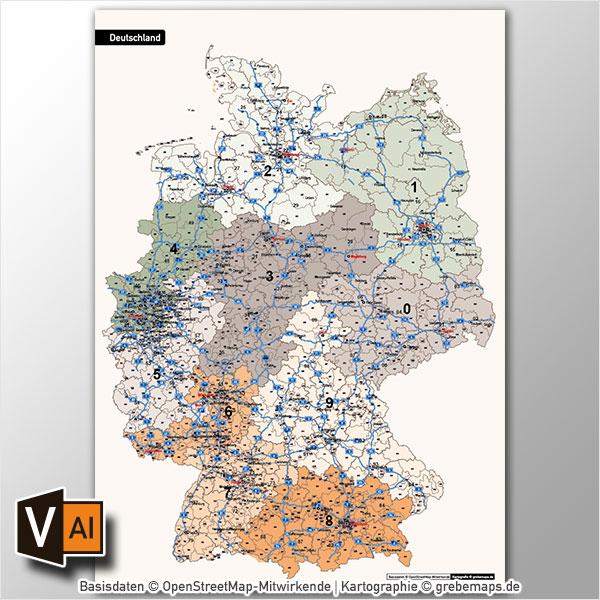 Deutschland Postleitzahlenkarte PLZ-1-2-3 Vektorkarte 3-stellig, Karte Postleitzahlen Deutschland 3-stellig 2-stellig 1-stellig, Autobahnen