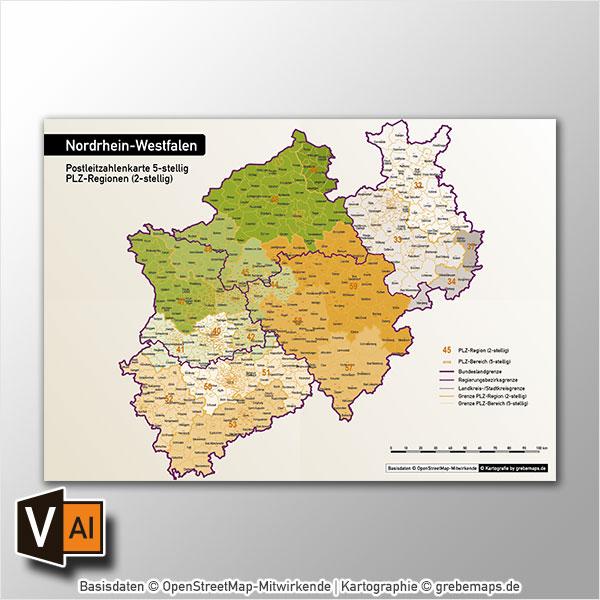 Nordrhein-Westfalen Postleitzahlenkarte 5-stellig PLZ-5 Vektorkarte Autobahnen