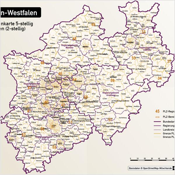 Nordrhein-Westfalen Postleitzahlenkarte 5-stellig PLZ-5 Vektorkarte
