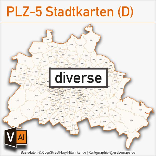 -Postleitzahlen-Karten PLZ-5 Vektor Stadtkarten Deutschland (diverse)