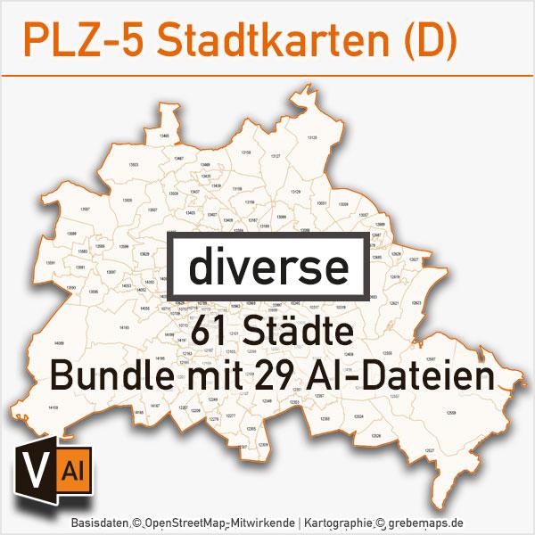 Postleitzahlen-Karten PLZ-5 Vektor Stadtkarten Deutschland (diverse) – Bundle Mit 61 Städten (29 AI-Dateien)