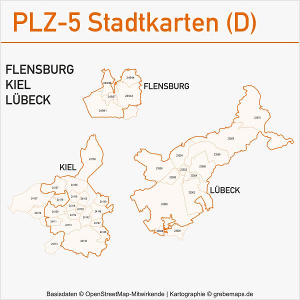 Postleitzahlen-Karten PLZ-5 Vektor Stadtkarten Deutschland Flensburg Kiel Lübeck