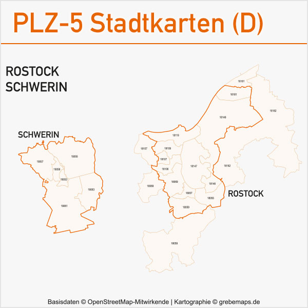 Postleitzahlen-Karten PLZ-5 Vektor Stadtkarten Deutschland Rostock Schwerin