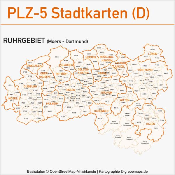 Postleitzahlen-Karten PLZ-5 Vektor Stadtkarten Deutschland Ruhrgebiet Moers Duisburg Oberhausen Bottrop Mülheim Essen Bochum Hagen Dortmund Herne Gladbeck Hattingen Recklinghausen Lünen