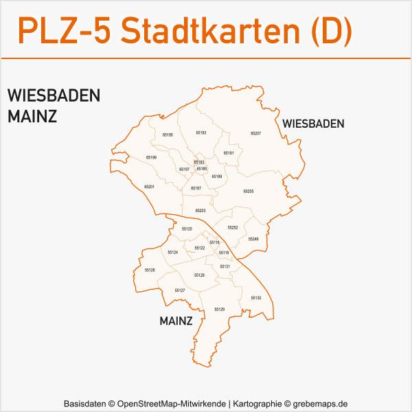 Postleitzahlen-Karten PLZ-5 Vektor Stadtkarten Deutschland Wiesbaden Mainz