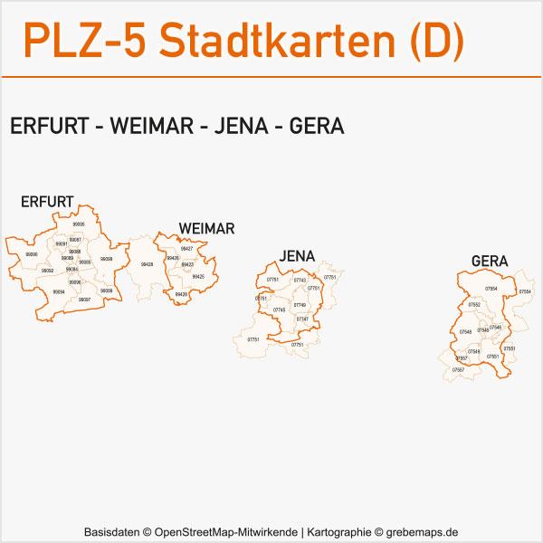 Postleitzahlen-Karten PLZ-5 Vektor Stadtkarten Deutschland Erfurt Weimar Jena Gera