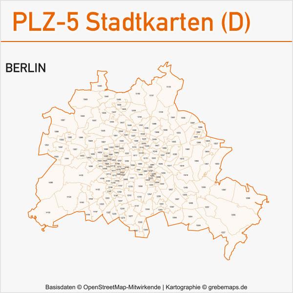 Postleitzahlen-Karten PLZ-5 Vektor Stadtkarten Deutschland Berlin