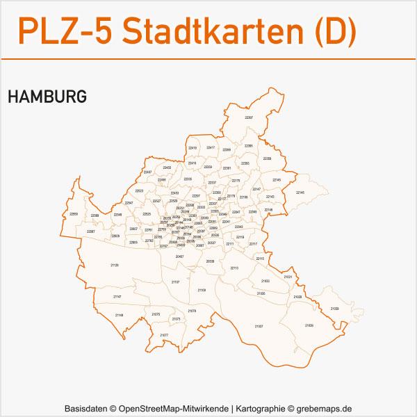 Postleitzahlen-Karten PLZ-5 Vektor Stadtkarten Deutschland Hamburg