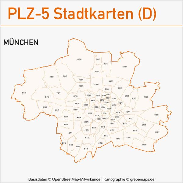 Postleitzahlen-Karten PLZ-5 Vektor Stadtkarten Deutschland München
