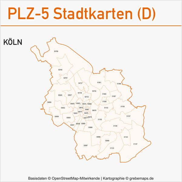 Postleitzahlen-Karten PLZ-5 Vektor Stadtkarten Deutschland Köln