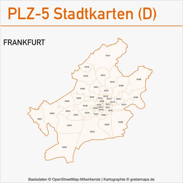 Postleitzahlen-Karten PLZ-5 Vektor Stadtkarten Deutschland Frankfurt Am Main