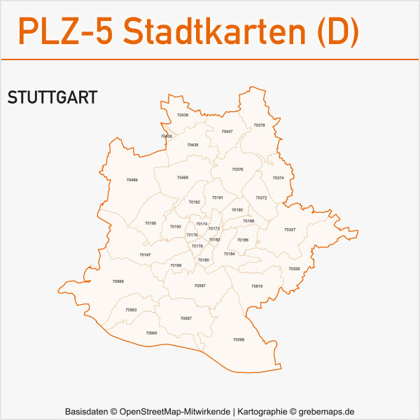 Postleitzahlen-Karten PLZ-5 Vektor Stadtkarten Deutschland Stuttgart