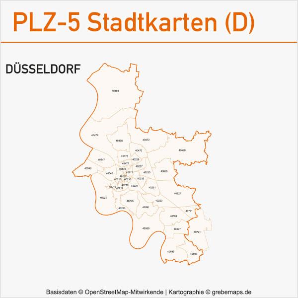 Postleitzahlen-Karten PLZ-5 Vektor Stadtkarten Deutschland Düsseldorf