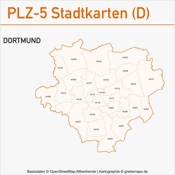 Postleitzahlen-Karten PLZ-5 Vektor Stadtkarten Deutschland Dortmund
