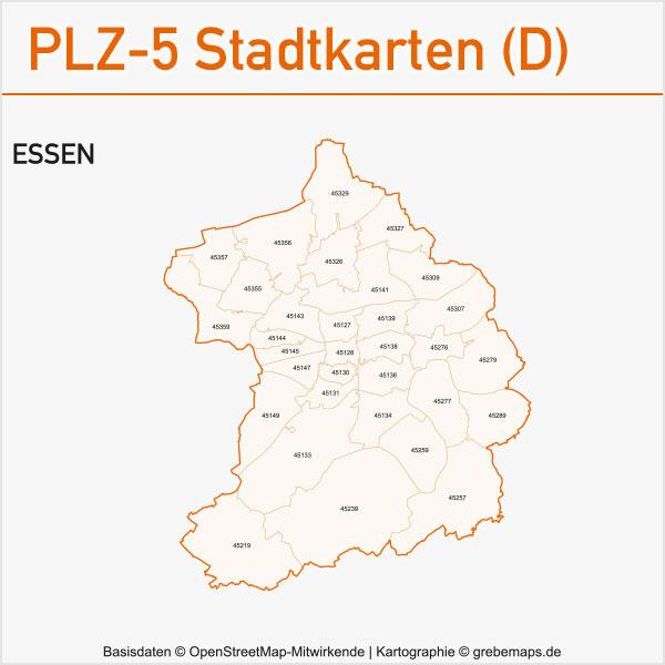 Postleitzahlen-Karten PLZ-5 Vektor Stadtkarten Deutschland Essen