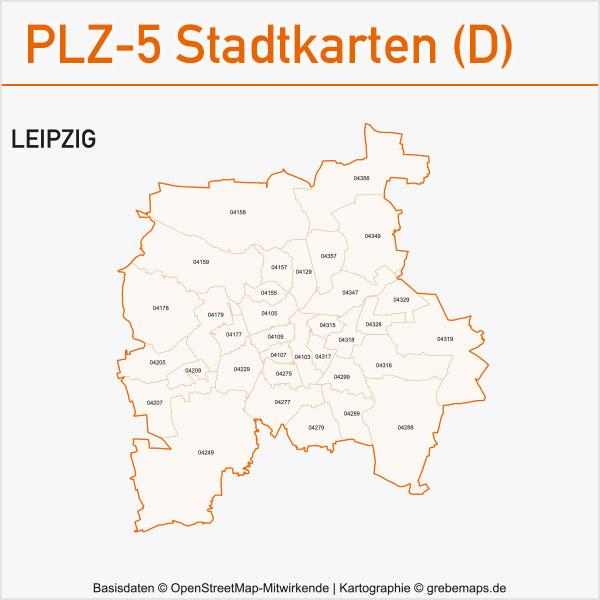 Postleitzahlen-Karten PLZ-5 Vektor Stadtkarten Deutschland Leipzig