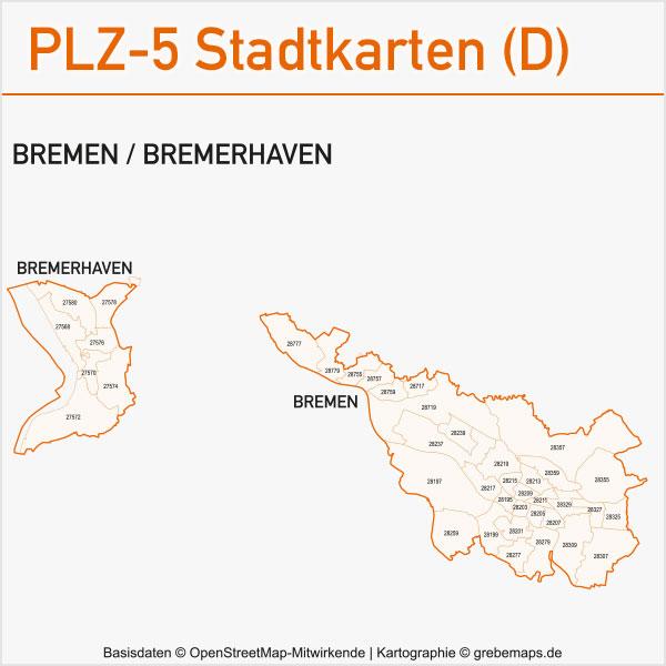 Postleitzahlen-Karten PLZ-5 Vektor Stadtkarten Deutschland Bremen / Bremerhaven