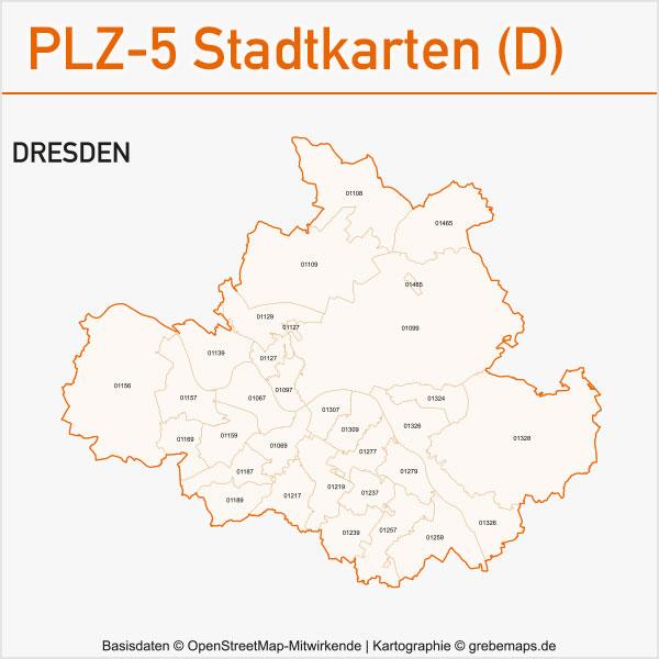 Postleitzahlen-Karten PLZ-5 Vektor Stadtkarten Deutschland Dresden