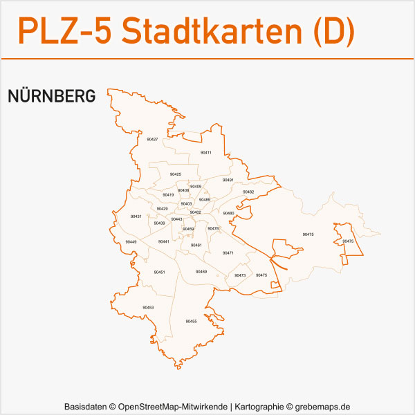 Postleitzahlen-Karten PLZ-5 Vektor Stadtkarten Deutschland Nürnberg
