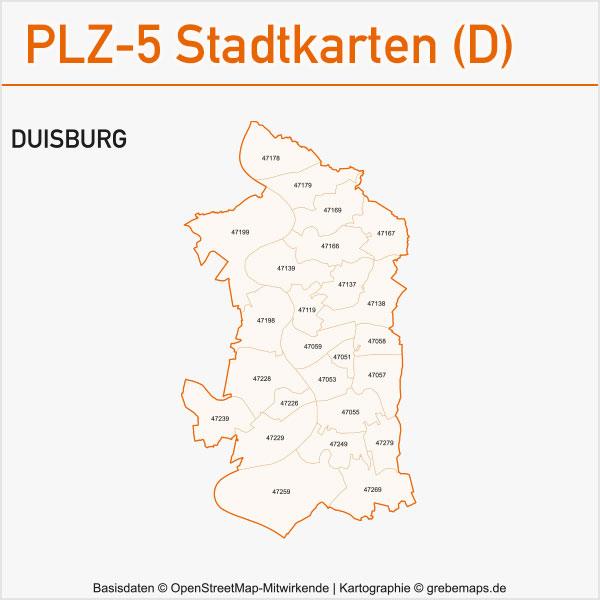 Postleitzahlen-Karten PLZ-5 Vektor Stadtkarten Deutschland Duisburg