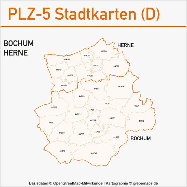 Postleitzahlen-Karten PLZ-5 Vektor Stadtkarten Deutschland Bochum / Herne