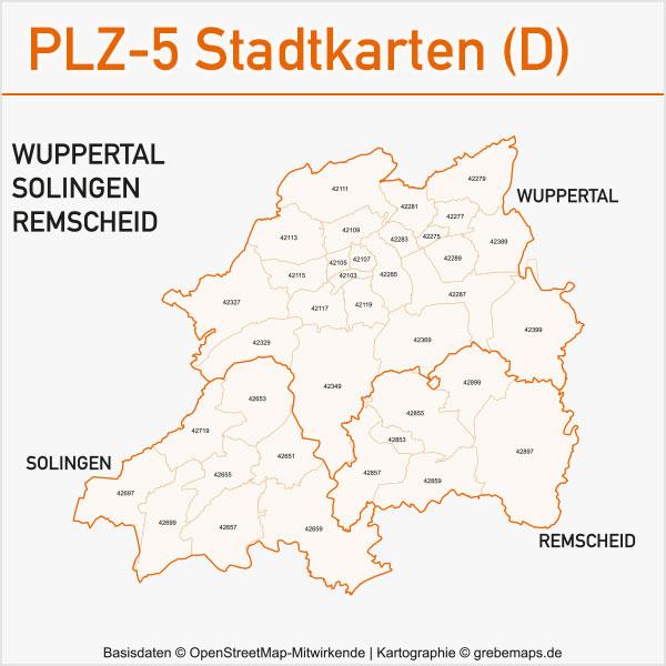 Postleitzahlen-Karten PLZ-5 Vektor Stadtkarten Deutschland Wuppertal / Solingen / Remscheid