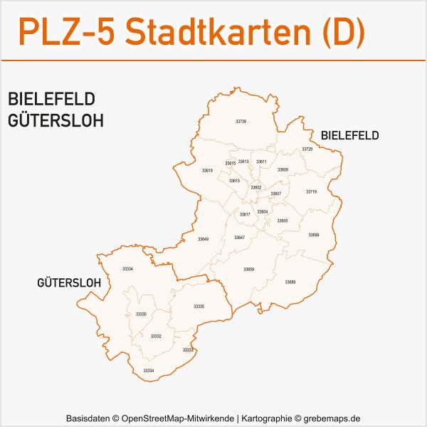 Postleitzahlen-Karten PLZ-5 Vektor Stadtkarten Deutschland Bielefeld / Gütersloh