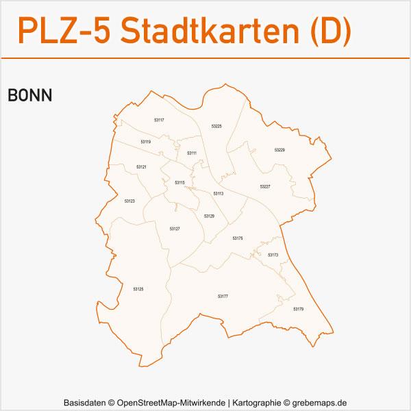 Postleitzahlen-Karten PLZ-5 Vektor Stadtkarten Deutschland Bonn