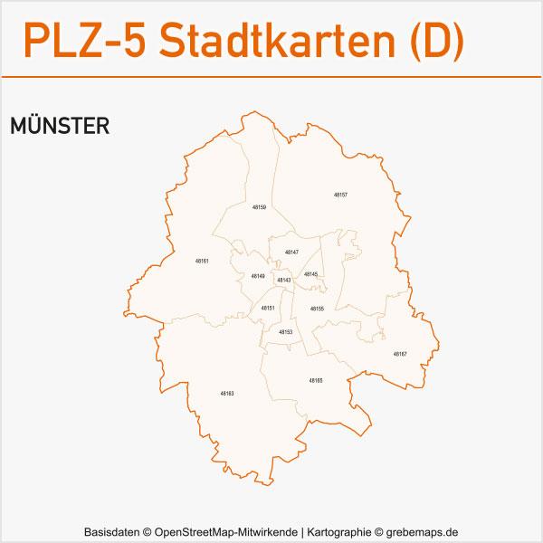 Postleitzahlen-Karten PLZ-5 Vektor Stadtkarten Deutschland Münster