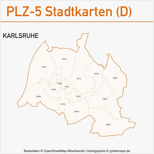 Postleitzahlen-Karten PLZ-5 Vektor Stadtkarten Deutschland Karlsruhe