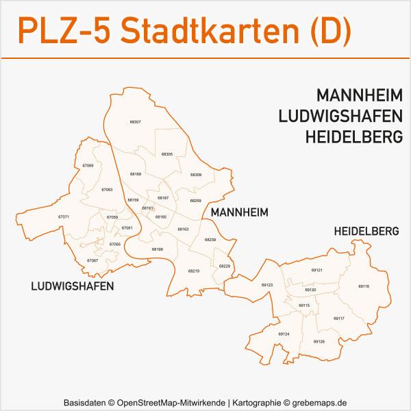 Postleitzahlen-Karten PLZ-5 Vektor Stadtkarten Deutschland Mannheim / Ludwigshafen / Heidelberg
