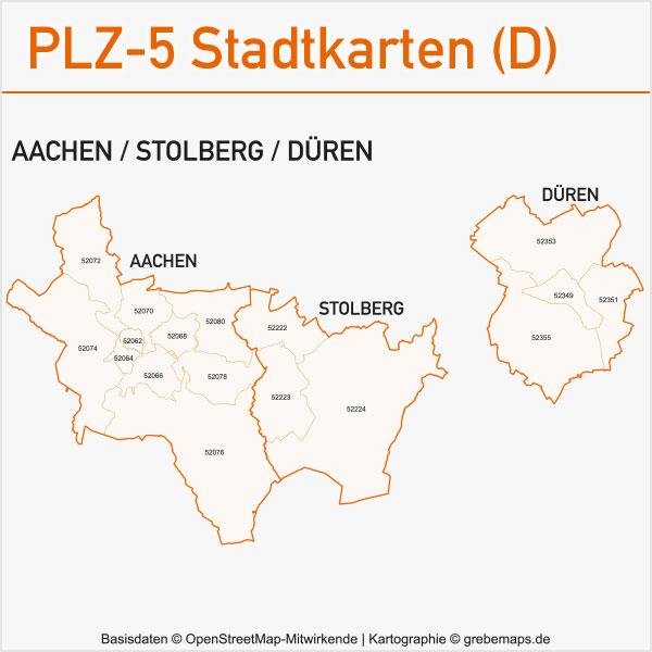 Postleitzahlen-Karten PLZ-5 Vektor Stadtkarten Deutschland Aachen Stolberg Düren