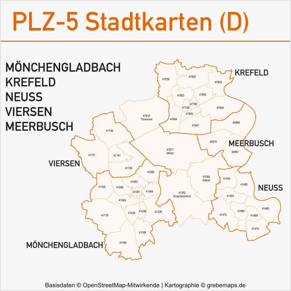 Postleitzahlen-Karten PLZ-5 Vektor Stadtkarten Deutschland Mönchengladbach Krefeld Neuss Viersen Meerbusch