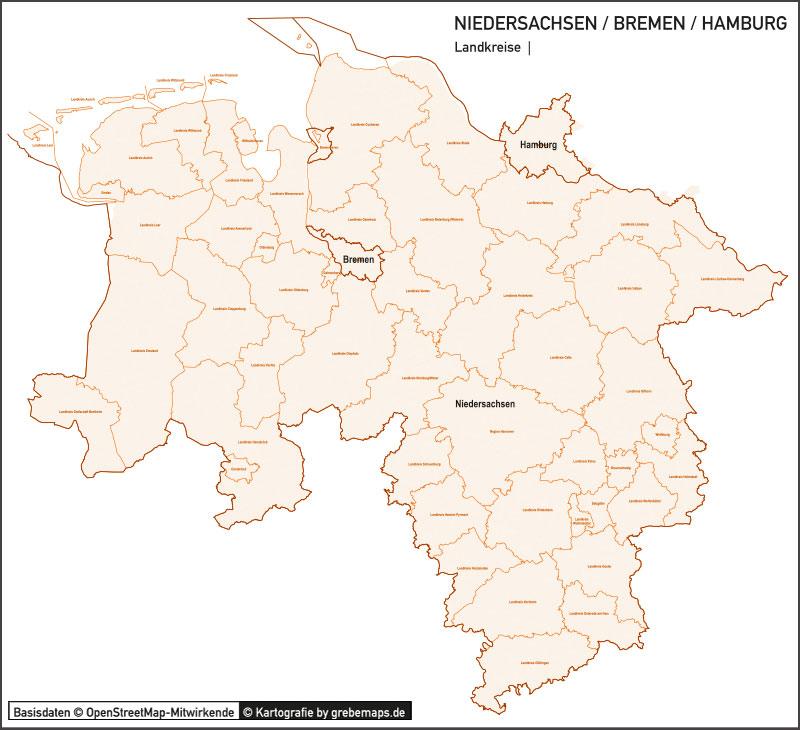 Niedersachsen / Bremen / Hamburg Vektorkarte Landkreise Gemeinden PLZ-5, Karte Niedersachsen, Karte Landkreise Niedersachsen, Karte Gemeinden Niedersachsen, Karte Postleitzahlen Niedersachsen