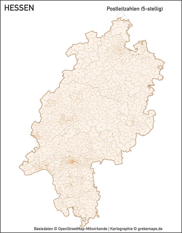 Hessen Vektorkarte Landkreise Gemeinden PLZ-5, Karte Hessen Landkreise, Karte Hessen Gemeinden, Karte Hessen Postleitzahlen, Bundeslandkarte Hessen, Karte Vektor Hessen