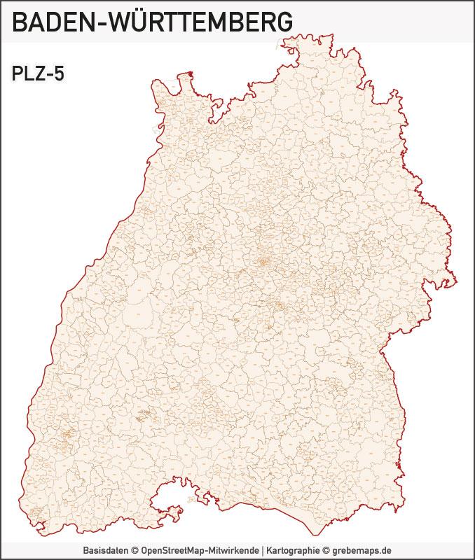 Baden-Württemberg Vektorkarte Landkreise Gemeinden PLZ-5, Karte Gemeinden Baden-Württemberg, Karte Landkreise Baden-Württemberg, Karte Postleitzahlen Baden-Württemberg, PLZ-Karte BW, PLZ-Karte Baden-Württemberg, Vektorkarte Baden-Württemberg