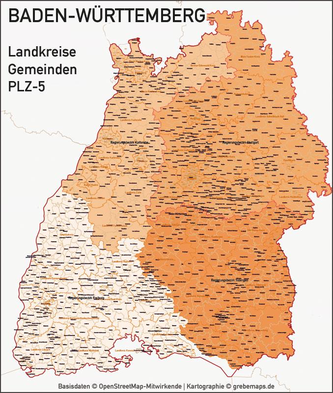 Baden-Württemberg Vektorkarte Regierungsbezirke Landkreise Gemeinden Postleitzahlen PLZ-5 5-stellig, Karte Regierungsbezirke Baden-Württemberg, Vektorkarte Baden-Württemberg