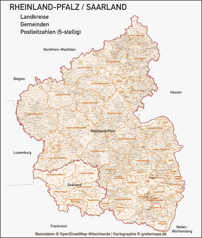 Rheinland-Pfalz / Saarland Vektorkarte Landkreise Gemeinden PLZ-5, Karte Rheinland-Pfalz, Karte PLZ Rheinland-Pfalz, Karte Gemeinden Rheinland-Pfalz, Karte Landkreise Rheinland-Pfalz, Karte Saarland, Karte PLZ Saarland, Karte Gemeinden Saarland, Karte Vektor Rheinland-Pfalz