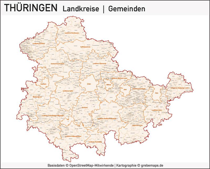 Thüringen Vektorkarte Landkreise Gemeinden PLZ-5, Karte Thüringen, Landkarte Thüringen Gemeinden, Karte Vektor PLZ Thüringen, Karte Landkreise Thüringen, Thüringen Karte Vektor PLZ