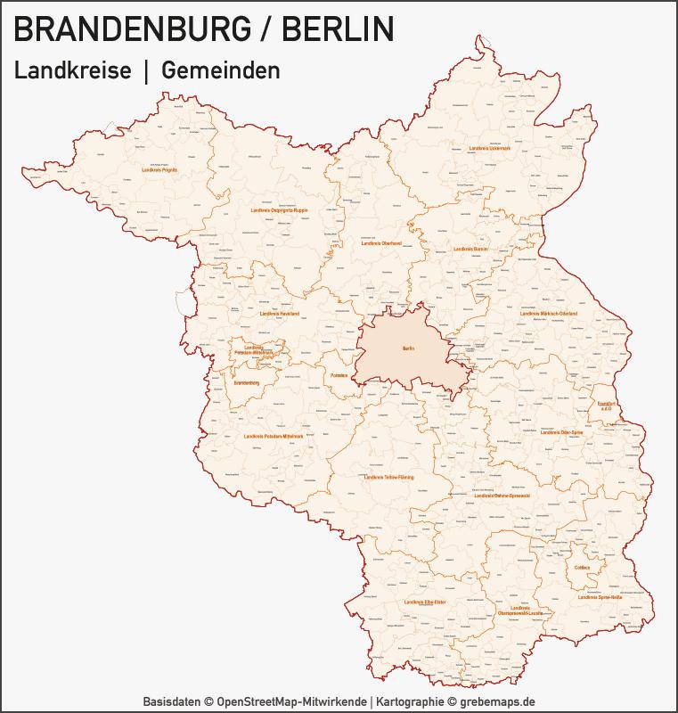 Brandenburg - Berlin Vektorkarte Landkreise Gemeinden PLZ-5, Karte Vektor Brandenburg, Karte Postleitzahlen Brandenburg, Vektorkarte Brandenburg, Karte Berlin, Landkarte Berlin, Karte Brandenburg Berlin