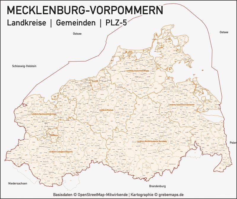Mecklenburg-Vorpommern Vektorkarte Landkreise Gemeinden PLZ-5, Karte PLZ Mecklenburg-Vorpommern, Vektorkarte Mecklenburg-Vorpommern, Karte Landkreise Mecklenburg-Vorpommern, Karte Gemeinden Mecklenburg-Vorpommern, Karte Vektor Mecklenburg-Vorpommern