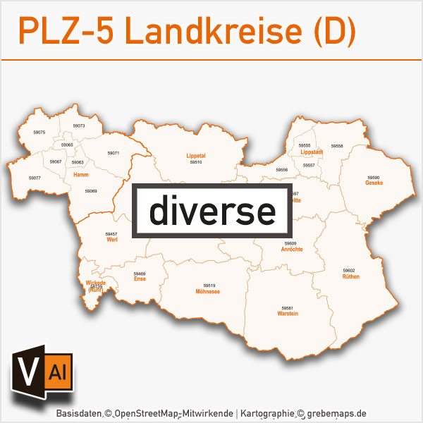 -Postleitzahlen-Karten PLZ-5 Vektor Landkreise Deutschland (diverse)